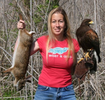 Jenn Coulson and her Coulson Harris's Hawk